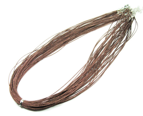 "18"" with 2"" extension chain  pack of 10 Brown 5-string necklaces"