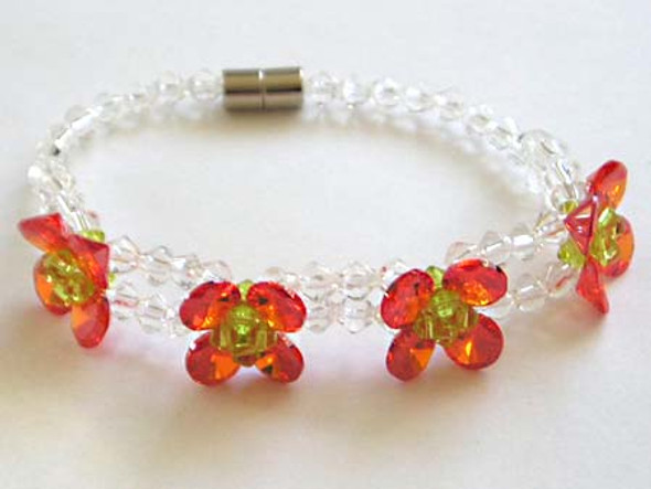 CZ fashion bracelet, ruby color.