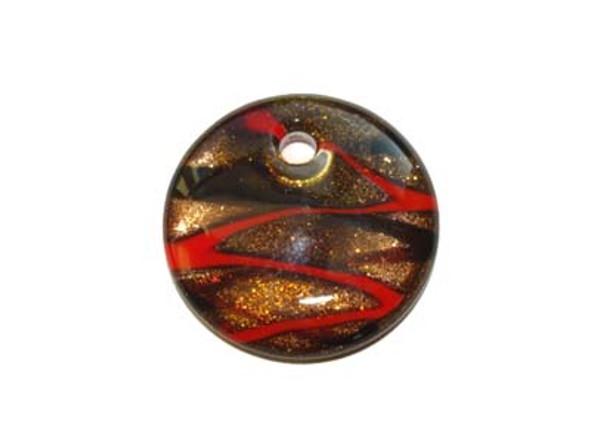 40mm Murano style puffed round pendant