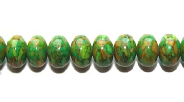 5x8mm  Green reconstituted howlite rondelle beads