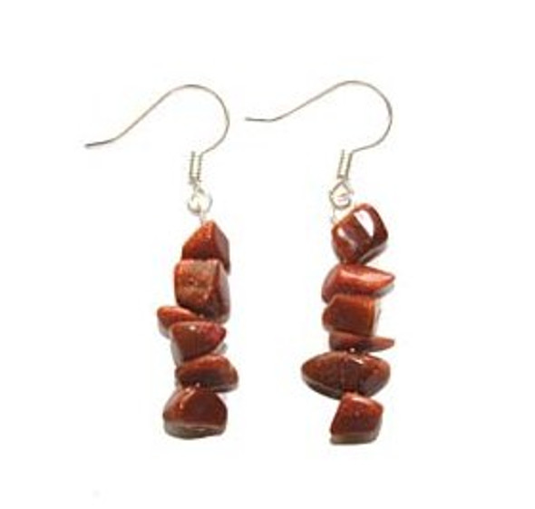 1 3/4 inches long  pack of 5 pairs Goldstone earrings