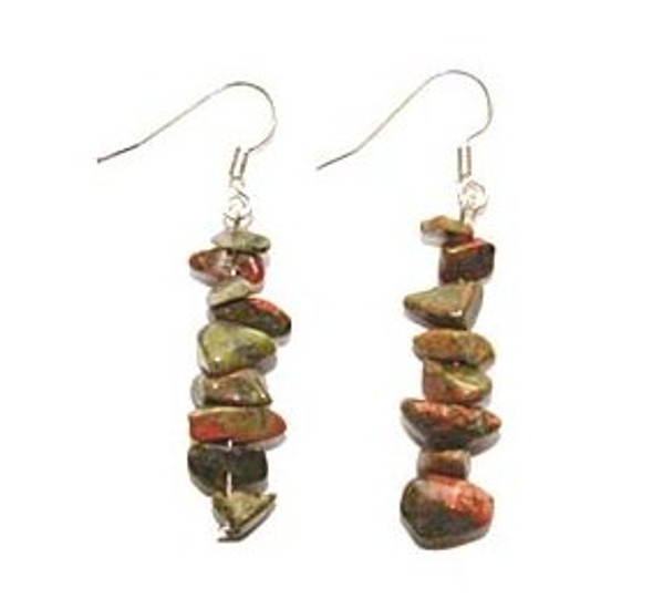 1 3/4 inches long  pack of 5 pairs Unakite earrings