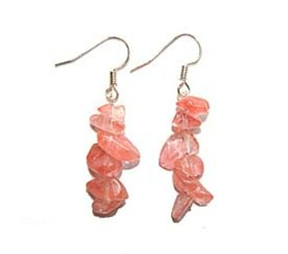 1 3/4 inches long  pack of 5 pairs Cherry quartz earrings