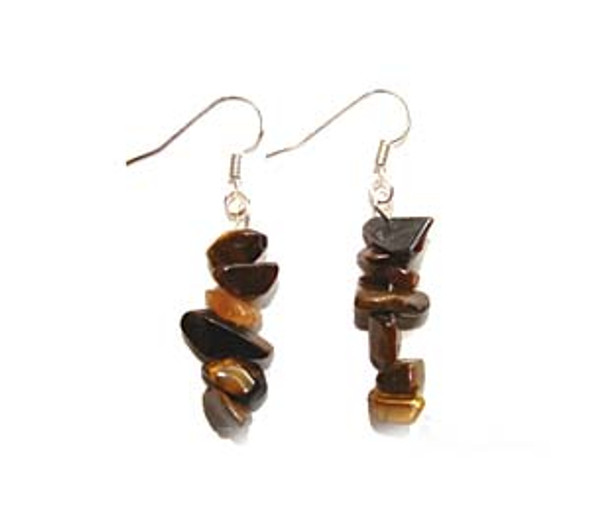1 3/4 inches long  pack of 5 pairs Tiger's eye earrings