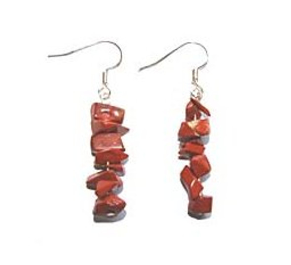 1 3/4 inches long  pack of 5 pairs Red jasper earrings