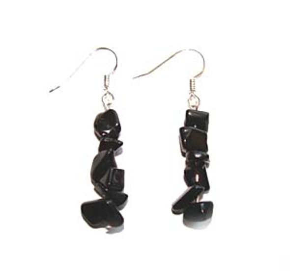 1 3/4 inches long  pack of 5 pairs Black onyx earrings