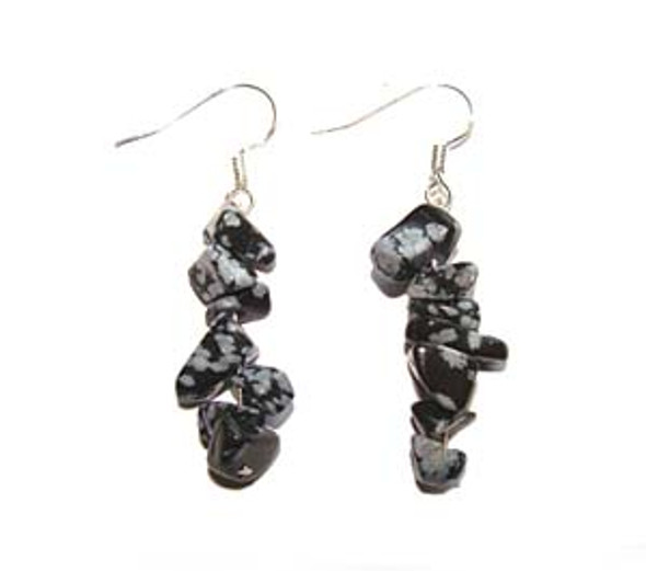1 3/4 inches long  pack of 5 pairs Snowflake obsidian earrings