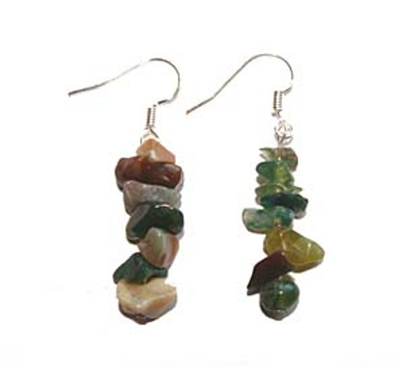 1 3/4 inches long  pack of 5 pairs Indian agate earrings