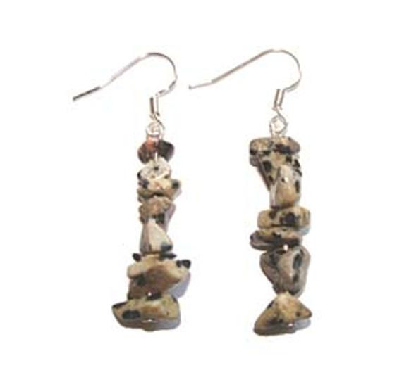 1 3/4 Inches Long Pack Of 5 Pairs Dalmatian Jasper Earrings
