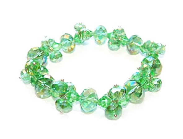 7.5 - 8 inches  green Fashion glass stretch bracelet