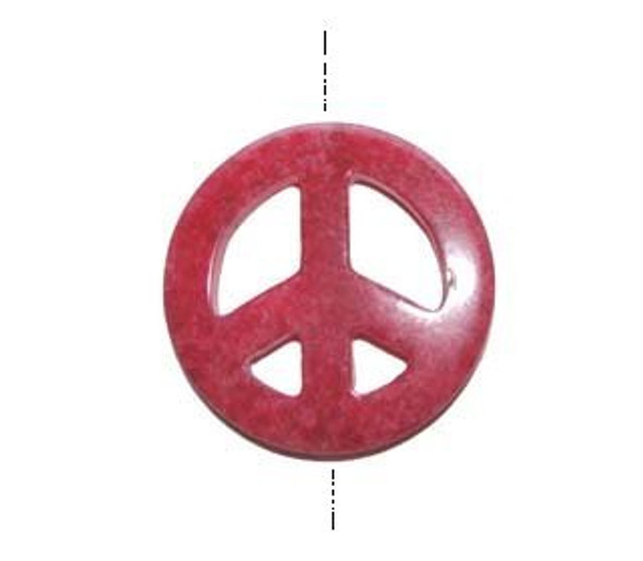 45mm Red Colored Jade Peace Sign Pendant