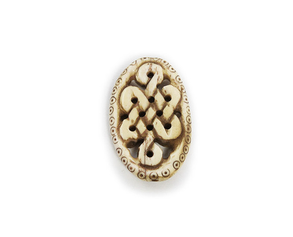 24x37mm Bone Hand-Carved China Knot Oval Pendant