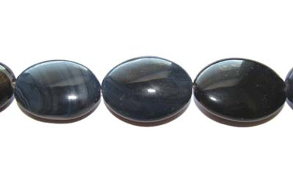 20x25mm  about 12 beads Dark gray/black agate oval beads