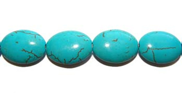 12x16mm 28 Beads Turquoise/Howlite Oval Beads