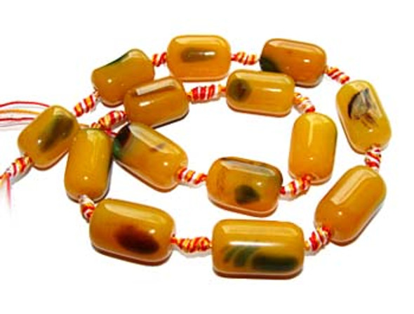 13x18mm  Yellow and green agate drum beads