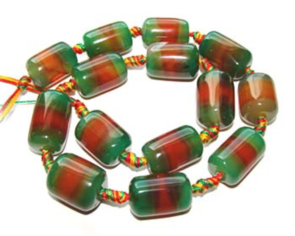 13x18mm  Green and red agate drum beads