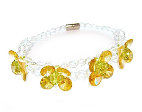 7 inches CZ four-petal yellow flower fashion bracelet