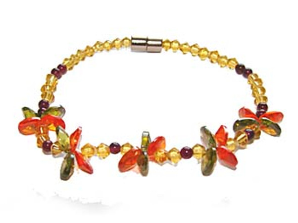 7 inches CZ red little flower fashion bracelet