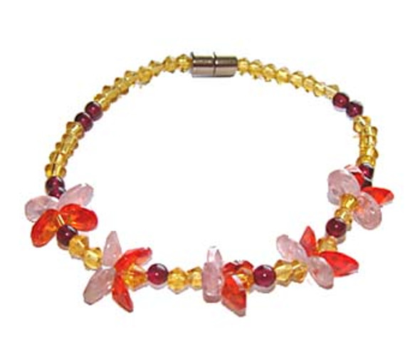 7 inches CZ pink and red flower fashion bracelet