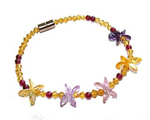 7 inches CZ purple little flower fashion bracelet