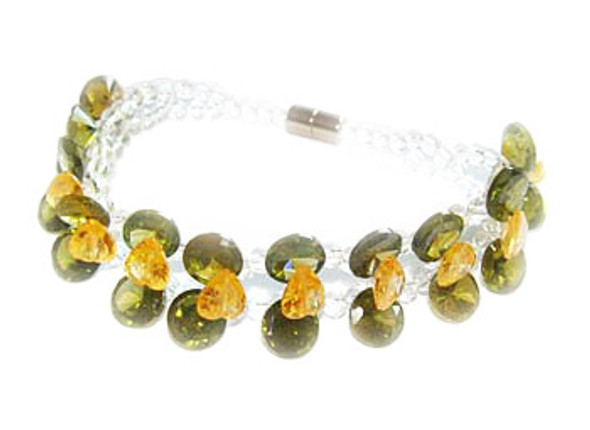 7 inches CZ green fashion bracelet