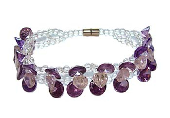 7 inches CZ dark purple fashion bracelet