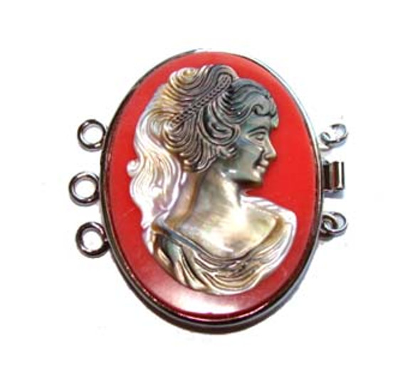 30x40mm For Triple-Strand Necklace Red Cameo Oval Pendant