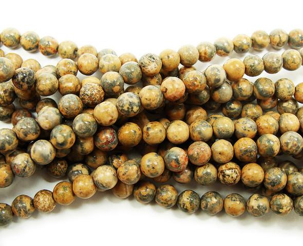 6mm Brown Leopard Skin Jasper Round Beads