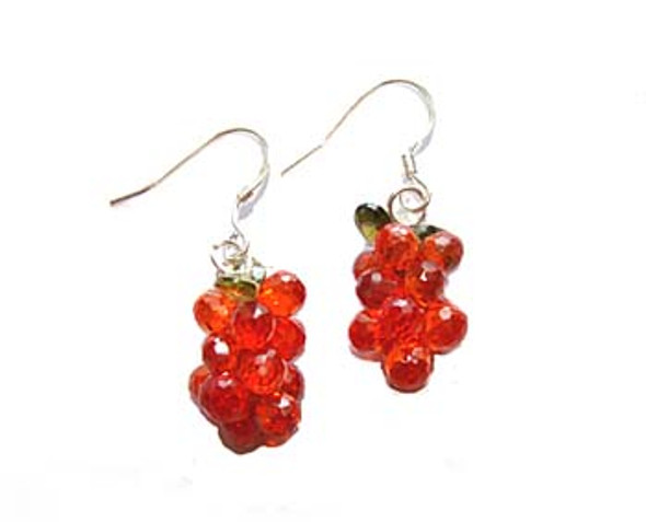 sterling silver hooks  red CZ grape earrings