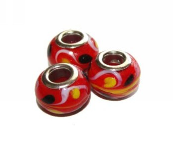 9x13mm  pack of 4  red Large hole glass rondelle beads