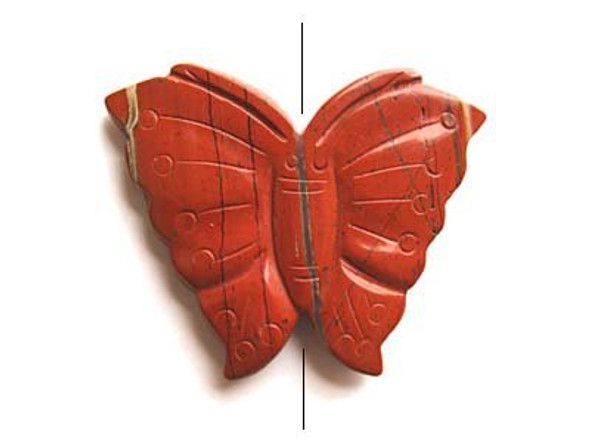 55x70mm Red jasper butterfly pendant
