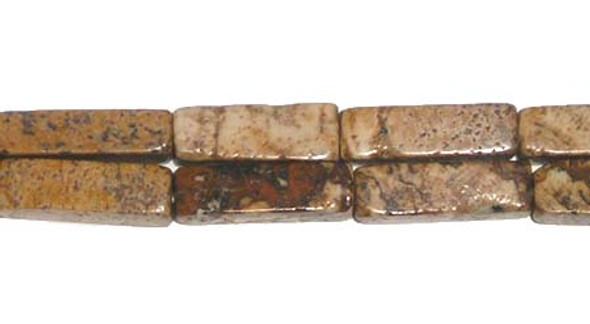 6x13mm Picture Jasper Long Cube Beads