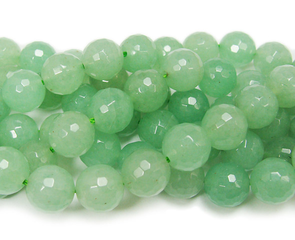 12mm  Green aventurine faceted round beads