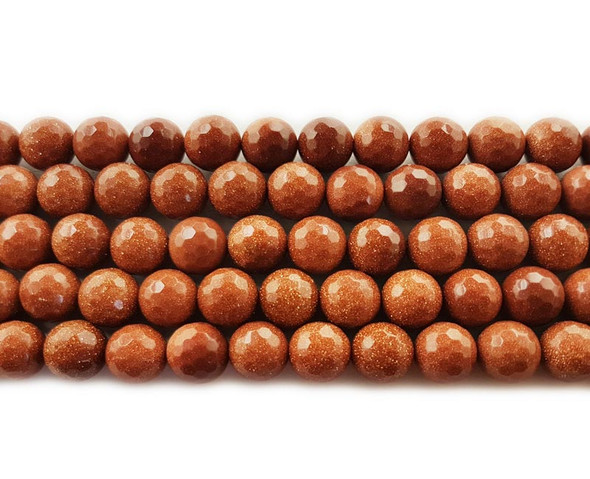 8mm  Goldstone faceted round beads