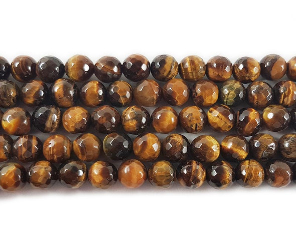 8mm Tiger Eye Faceted Round Beads