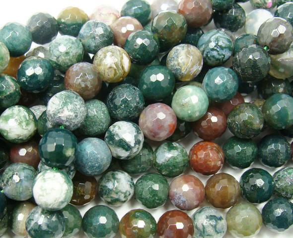 12mm Indian Agate Faceted Round Beads