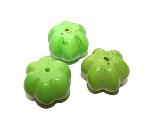 12x15mm  pack of 10 beads Apple green turquoise pumpkin beads