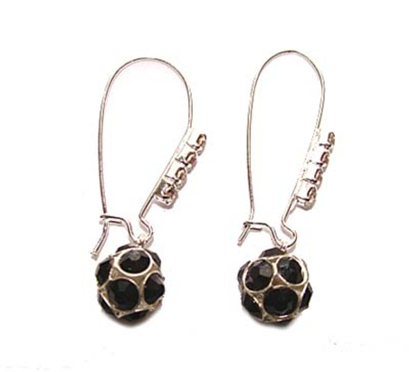 1 3/4 inches  black Platinum-plated brass and CZ earrings