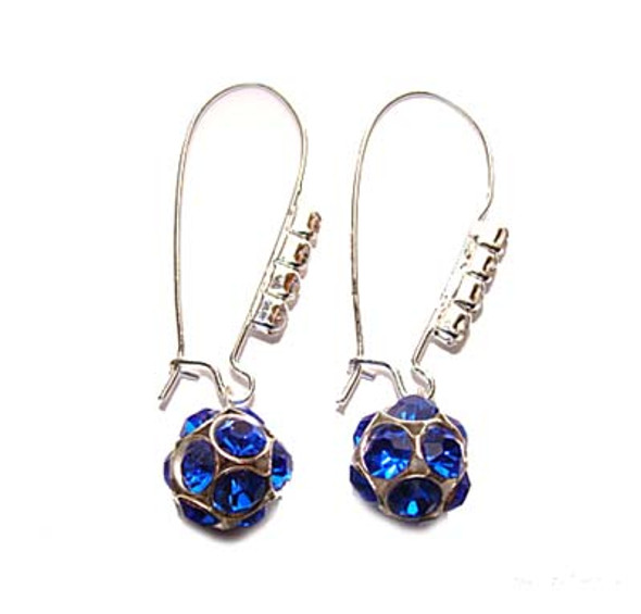 1 3/4 inches  blue Platinum-plated brass and CZ earrings