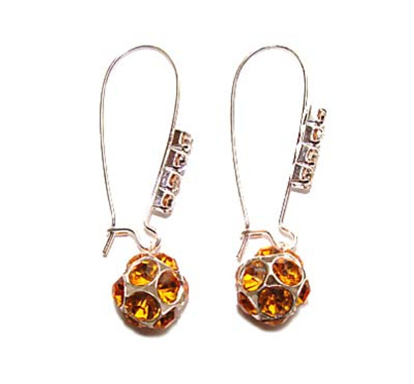 1 3/4 inches  goldenrod Platinum-plated brass and CZ earrings
