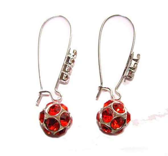 1 3/4 inches  red Platinum-plated brass and CZ earrings