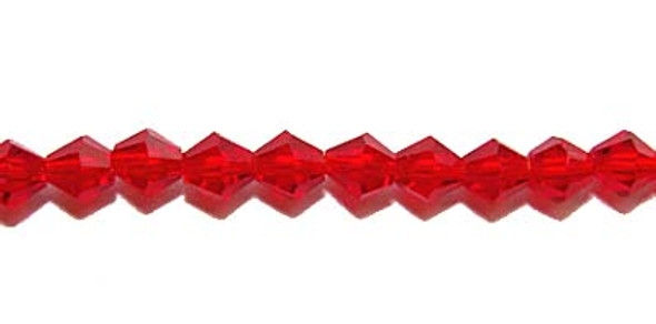 "4mm 12.5"" Red Price For 5 Sts Glass Faceted Bicone Beads"
