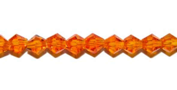 "4mm 12.5"" Golden Orange Price For 5 Sts Glass Faceted Bicone Beads"