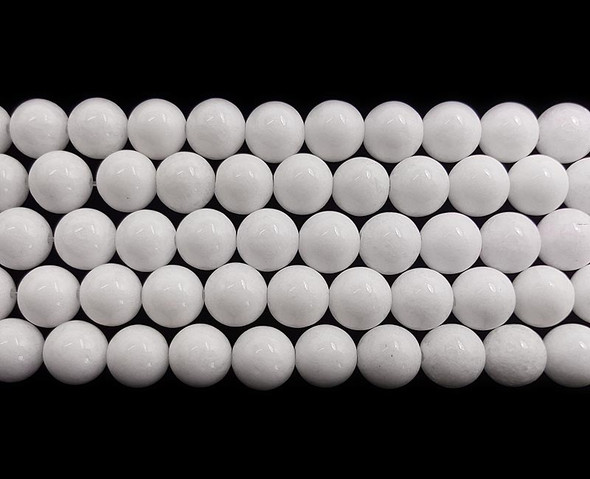 8mm White Jade Round Beads