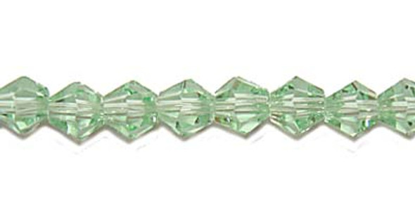 "4mm 12.5"" Light Green Price For 5 Sts Glass Faceted Bicone Beads"
