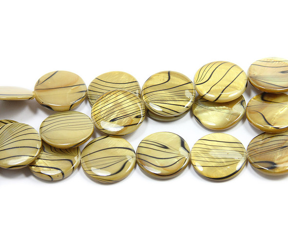 19mm Brown Mother Of Pearl Hand-Painted Puffed Coin Beads