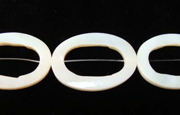25x35mm White Mother Of Pearl Carved Oval Beads