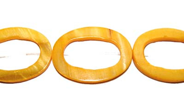 25x35mm Yellow Mother Of Pearl Carved Oval Beads