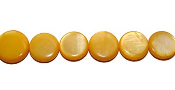 10-11mm  yellow Mother of pearl coin beads