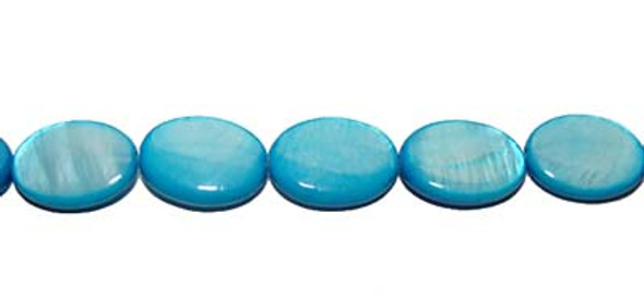 10x14mm  sea blue Mother of pearl puffed oval beads